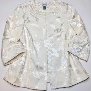 Chico's Sz 2 = Sz 12 Ivory Blazer Jacket 3/4 Slv